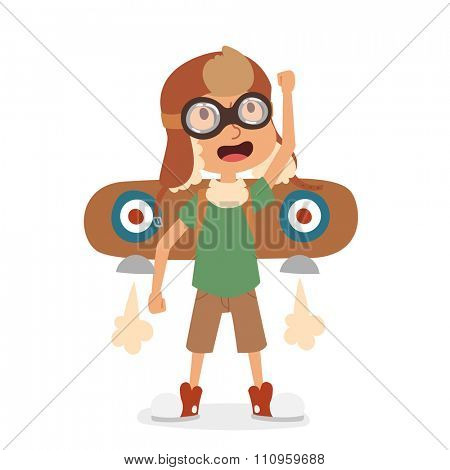 Small cartoon vector kids playing pilot aviation. Kids dreaming concept. Childhood vector kids playing games. Cartoon boys, girls play like pilots. Plane, kids, children, play, jump, Kids dreams icons