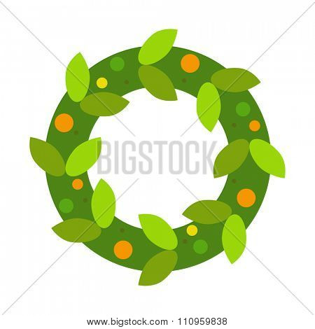 Christmas tree wreath flat vector isolated on white. Christmas tree wreath vector. New Year wreath isolated. Christmas wreath vector illustration. New Year wreath silhouette. Christmas decoration
