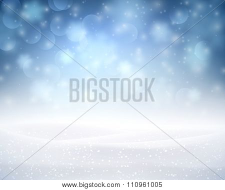Winter luminous background with snowflakes. Vector illustration.