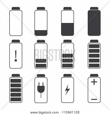 Modern Vector Illustration Of A Battery Charging Symbols.