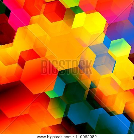 Psychedelic colourful hexagon geometry. Stylish ornate decor. Futuristic 2d render.