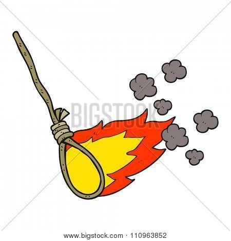 freehand drawn cartoon hangman's noose on fire