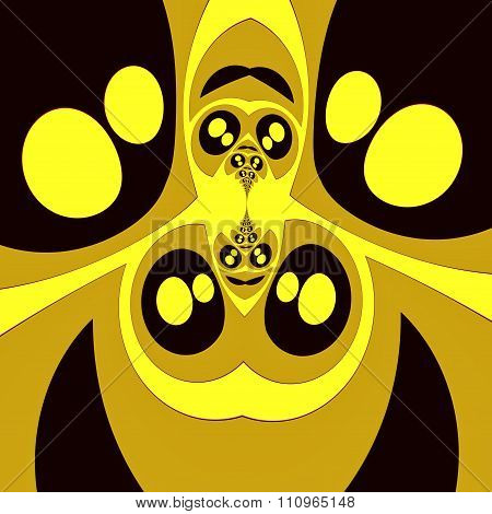 Bizarre symmetrical fractal with shiny eyes. Full frame image. Golden manga style eyes.