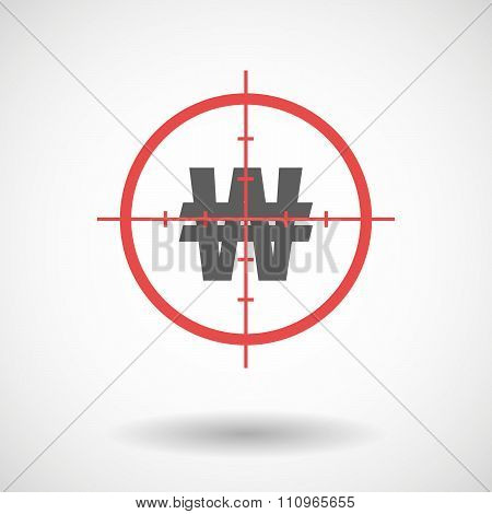 Red Crosshair Icon Targeting A Won Currency Sign