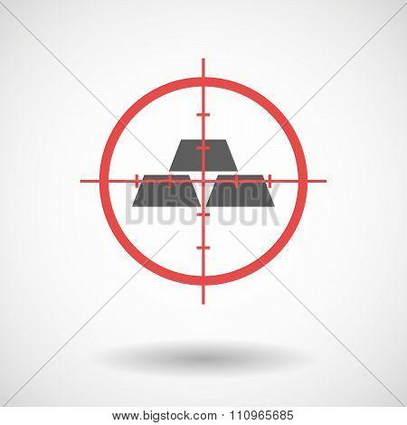 Red Crosshair Icon Targeting Three Gold Bullions