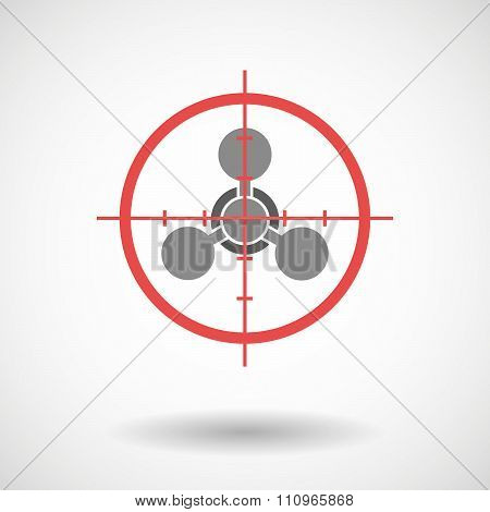 Red Crosshair Icon Targeting A Chemical Weapon Sign