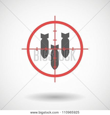 Red Crosshair Icon Targeting Three Bombs Falling