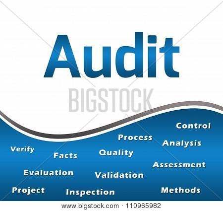 Audit Blue With Keywords Square