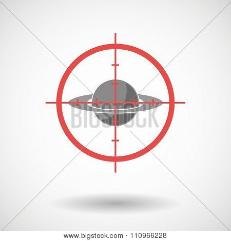 Red Crosshair Icon Targeting The Planet Saturn