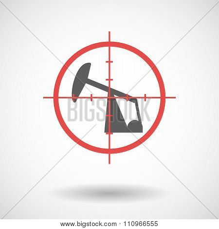 Red Crosshair Icon Targeting A Horsehead Pump