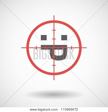 Red Crosshair Icon Targeting A Sticking Out Tongue Text Face