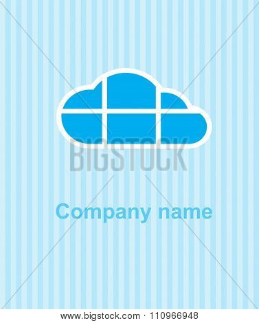 Vector Cloud On A Blue Striped Background, The Cloud Is Divided By Horizontal And Vertical Lines Can