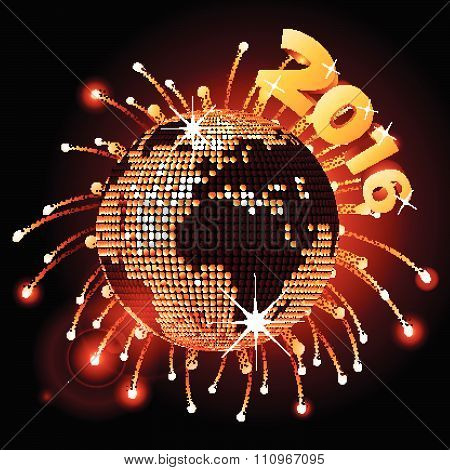 Disco Ball World Map 2016 And Fireworks