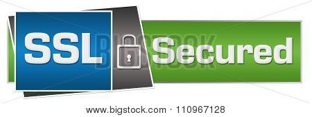 SSL Secured Green Blue Lock Horizontal