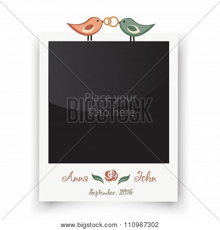 Retro wedding greeting cards. Template for photo of the bride and groom. Vector wedding illustration