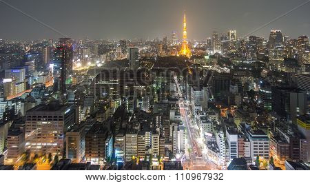Night view of Tokyo with tower, long exposure