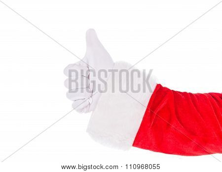 Santa Claus Hand Showing Thumbs Up Sign Isolated On White