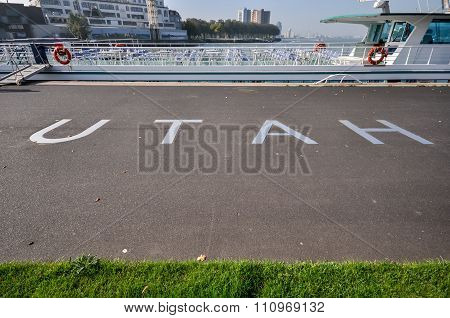 Metal Lettering At Promenade In Front Of Hotel New York  Rotterdam Holland