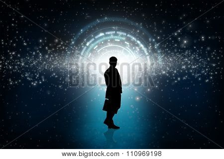 Business person looking at the shine round portal