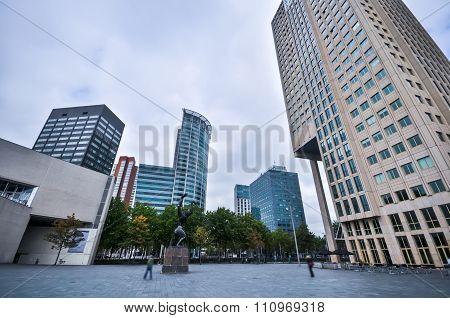 High-rise Buildings On The Streets Of Rotterdam