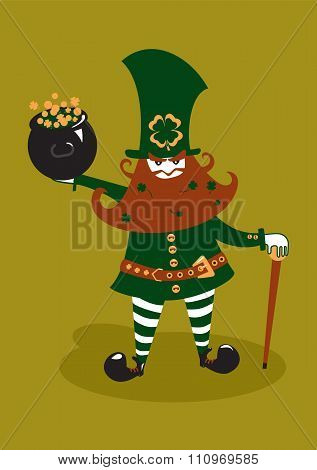 Leprechaun with cane and pot of gold