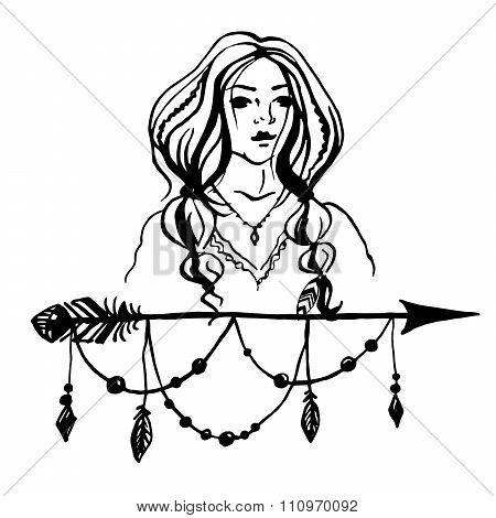 Boho Girl and arrow stylized illustration.