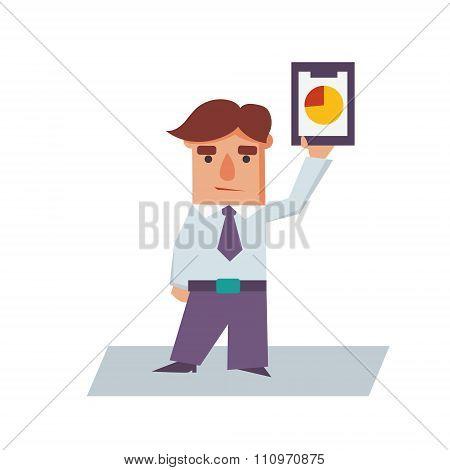 Business Man holding Graphics Cartoon Character Vector Illustration