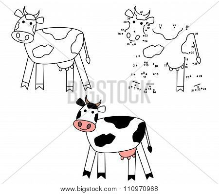 Cute Cartoon Cow. Coloring And Dot To Dot Educational Game For Kids