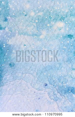 Snow Watercolor on Blue Background 3