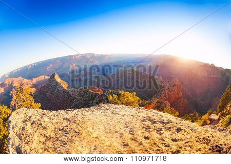 Sun rising over the Grand Canyon