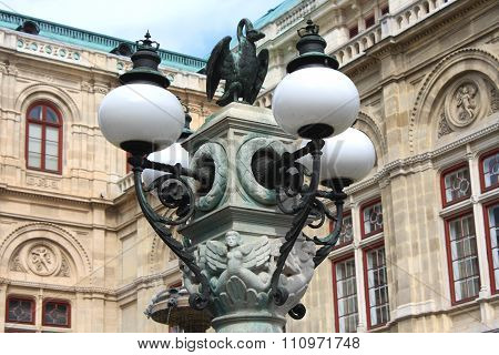 Decorations On The Lamp In Front Of The Vienna Opera