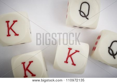 Dice Poker Game. Craps Detail In White Background