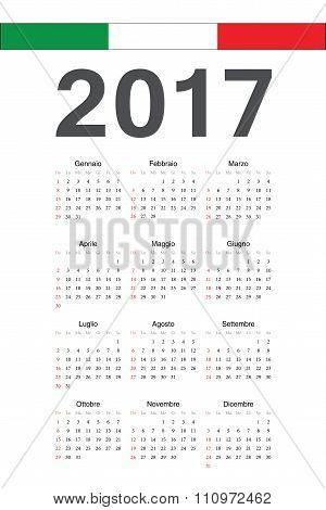 Italian 2017 Year Vector Calendar