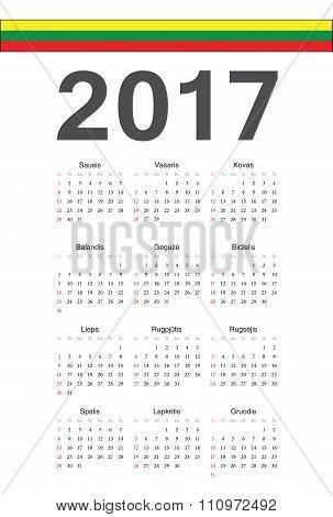 Lithuanian 2017 Year Vector Calendar