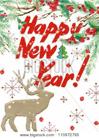 watercolor New Year background, winter holidays background. Wish Happy New Year text. watercolor ill