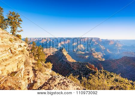 Morning contrast vie of the Grand Canyon valley