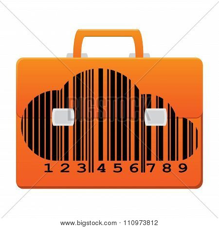 Orange Vector Icon Portfolio With A Barcode In The Form Of A Cloud