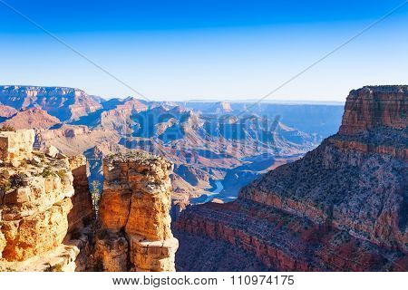 View of grand canyon and mountain peaks