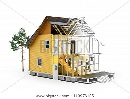 Concept Of Construction And Architect Design. 3D Render Of House In Building Process With Tree. Tran