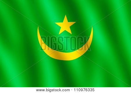 Flag Of Mauritania Waving In The Wind