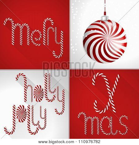 Christmas Card In A Modern Colorful Tile Design, Handmade Sweet Lollipop Font And Christmas Ball