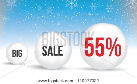 55  Percent, Sale Background With Snowballs And Snow. Sale. Winter Sale. Christmas Sale. New Year Sa