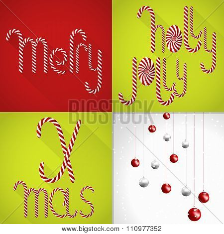 Christmas Card In A Modern Colorful Tile Design With Handmaden Lollipop Font And Christmas Balls