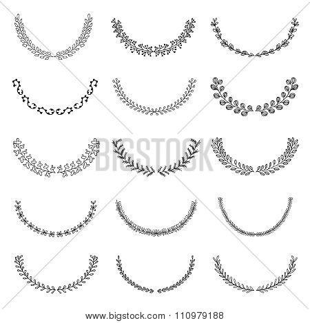 Set of vector hand drawn wreath, laurels