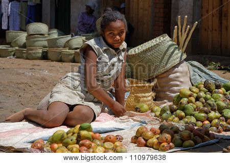 Betafo, Madagascar, November 17, 2015 : At The Market. The Irrigated Rice Paddies Of The Area Are Em