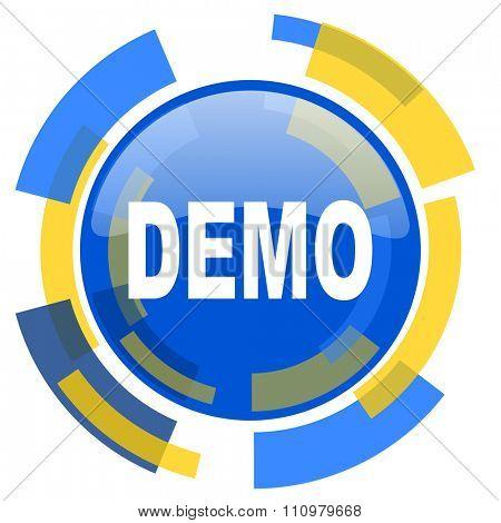 demo blue yellow glossy web icon