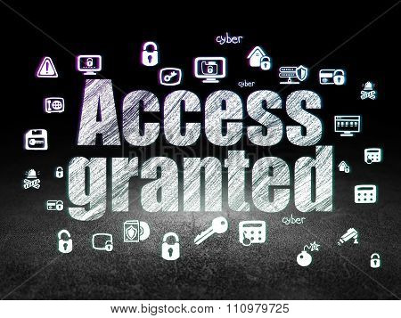 Security concept: Access Granted in grunge dark room