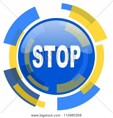 stop blue yellow glossy web icon