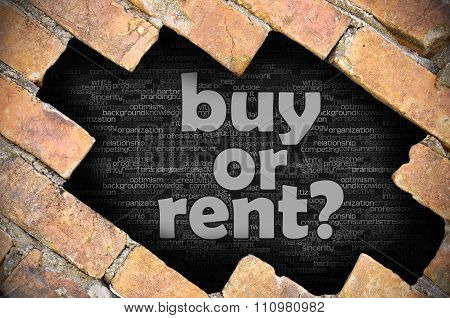 Hole In The Brick Wall With Word Buy Or Rent?