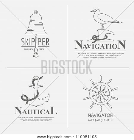 Set of sailing boat elements and nautical logos